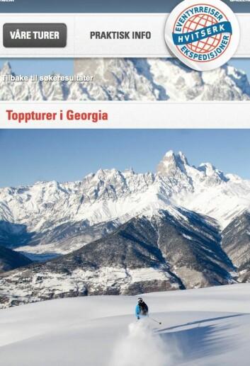 Du kan bli med selskapet Hvitserk på toppturer i Georgia nå i februar. Prisen er 23.900 kroner for ti dager.  (Foto: (Faksimile fra nettsiden til Hvitserk))