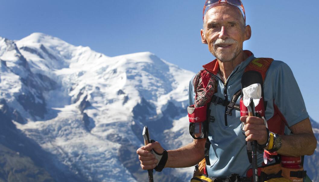 Trailrunning handler om å løpe på steder i naturen hvor vi tradisjonelt har gått. Sveitseren Werner Schweizer (71) trener her til det 166 km lange løpet Ultra-Trail som går rundt Europas høyeste fjell, Mont Blanc.  (Foto:  Denis Balibouse, Reuters/NTB scanpix)