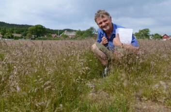 Forsker Trygve. S Aamlid i Bioforsk er prosjektleder for ECONADA. Her er han utenfor Bioforsk Landvik i Grimstad, i frøeng av smyle med opphav i Stranda kommune på Sunnmøre. (Foto: Anette Tjomsland)