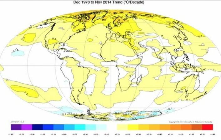 36 år med satellittmåling av temperatur i nedre troposfære. Oppvarmingen har vært sterkest på nordlige halvkule, og særlig over Arktis. (Bilde: UAH)