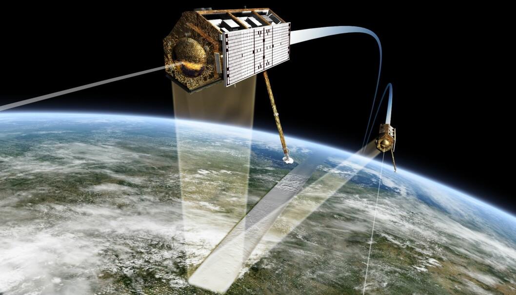 To TanDEM-X-satellitter går sammen i bane og bildene skaper en nøyaktig tredimensjonal modell av hele jordens overflate. Det gjør det også mulig å lage tredimensjonale modeller av skog og hogstfelter. (Illustrasjon: EADS Astrium)