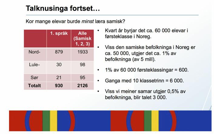 Frå føredraget «Ei framtid for samisk» 28. november 2014 i Manndalen, Kåfjord