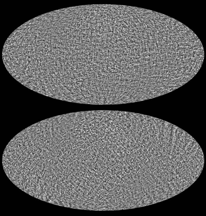 Ser bortenfor støvet: I dette bildet er forstyrrelsene fra støvet i Melkeveien fjernet, slik at vi ser den virkelige polariseringen av den kosmiske bakgrunnsstrålingen. De to bildene gir til sammen et bilde av både styrken og retningen på polariseringen. Før den endelige dom over BICEP-2 kan felles, må dette kartet sammenlignes med signaler som er enda ti ganger svakere. Forskere fra Planck og BICEP-2 vil samarbeide om dette, og resultatene ventes om noen måneder. (Foto: (Bilde: ESA/Planck Collaboration))