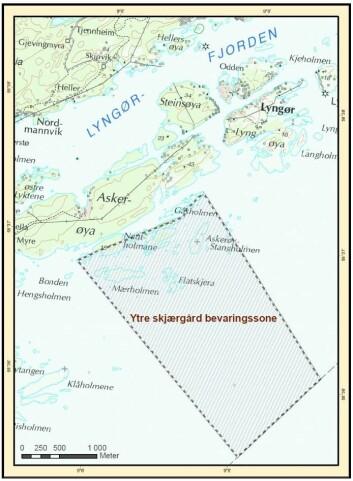 Bevaringsområdet utenfor Tvedestrand. (Foto: (Kart: Havforskningsinstituttet))