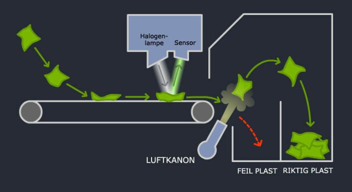 Opprevede plastbiter går fra transportbåndet til sorteringsmaskinen, der de blir belyst av en halogenlampe. Det reflekterte lyset har sin helt spesielle fargesignatur, som er karaktistisk for plasttypen. Sensoren i TiTechs sorteringsmaskin registrerer om fargesignaturen er den riktige. I så fall blåser en dyse plastbiten i en bue opp i en beholder. Plastbiter av feil type faller rett ned i en annen beholder (rød pil). (Foto: (Prinsippskisse: Arnfinn Christensen, forskning.no, basert på original fra TiTech))
