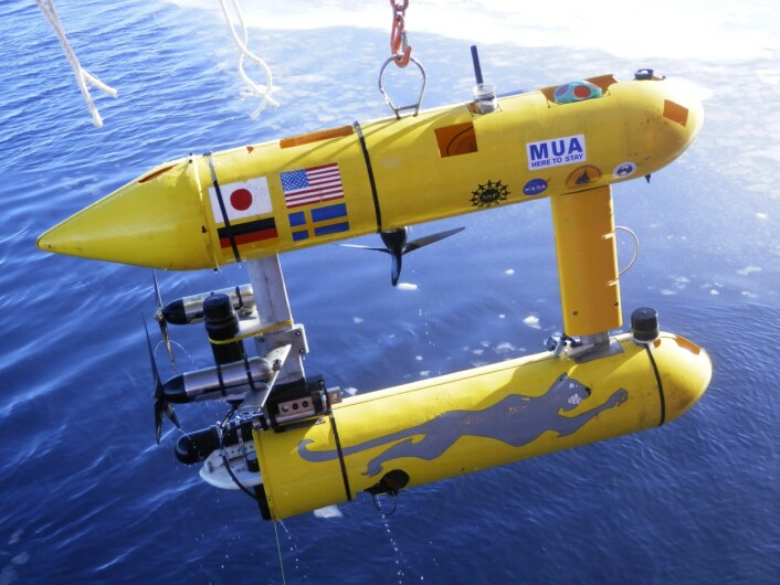 """Ubåten """"Jaguar"""", som ble brukt i undersøkelsene under isen. (Foto: Guy Williams, ACECRC)"""