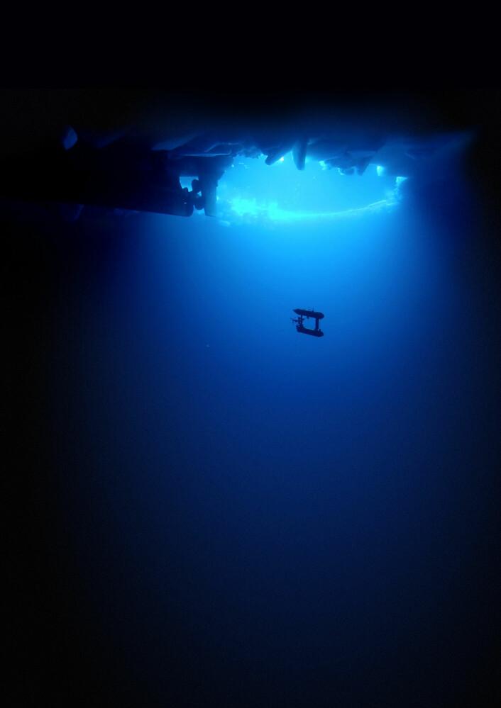 Ubåten sendes ut på oppdrag under isen. (Foto: Klaus Meiners, AAD (image) and Peter Kimball, WHOI (post-processing))
