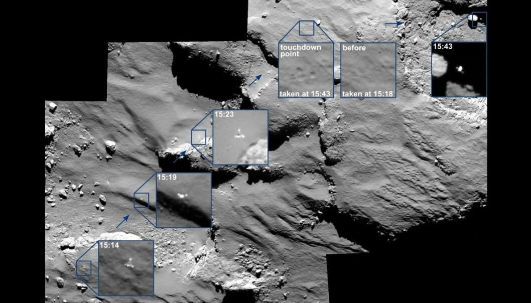 Philae falt austover over kometoverflata i ein fart på 0,5 meter i sekundet. (Foto: ESA/ROSETTA/MPS FOR OSIRIS TEAM MPS/UPD/LAM/IAA/SSO/INTA/UPM/DASP/IDA)