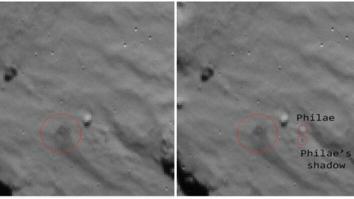 Philae sett fra Rosetta. Den store sirkelen viser trolig en støvsky, mens de to små sirklene viser det som sannsynligvis er Philae og skygge dens. (Foto: ESA)