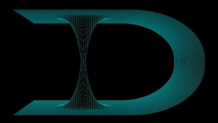 Denne illustrasjonen viser et bretta tidsrom med et ormehull som forbinder to områder som i utgangspunktet ligger langt unna hverandre. (Foto: Colourbox)
