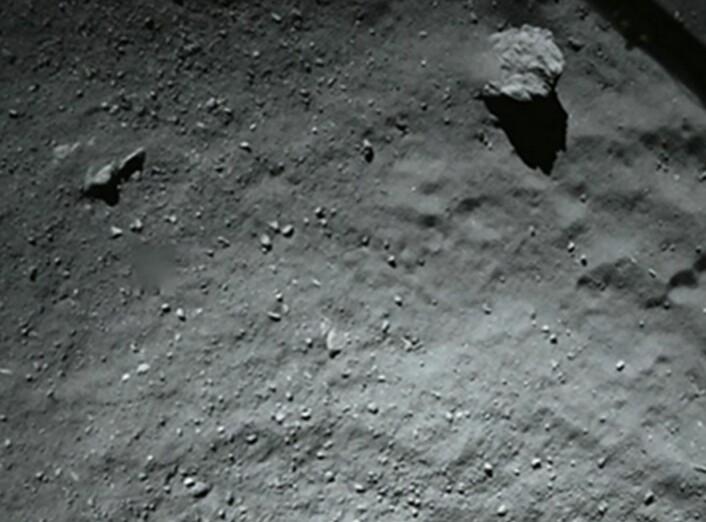 Dette er stedet der Philae landet som planlagt - men så spratt den altså opp igjen, før den havnet et annet sted. Bildet ble tatt rett før første landing. (Bilde fra ESAs web)