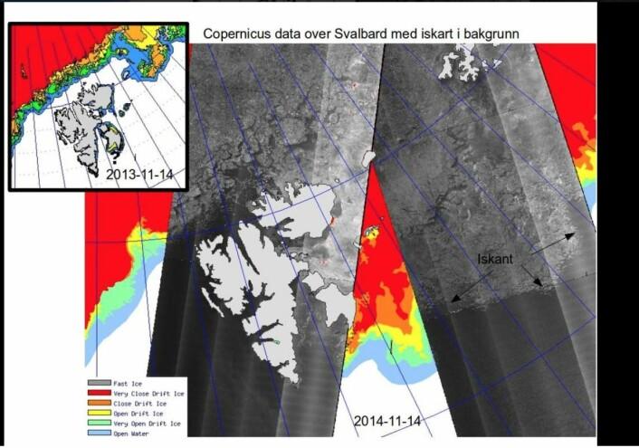 Radarbilder fra Sentinel-1A er nå i praktisk bruk i den norske istjenesten. (Bilde: Meteorologisk institutt)