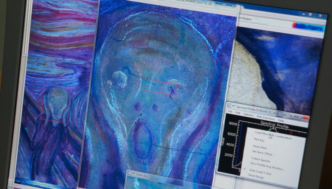 Skrik av Edvard Munch ble skannet hyperspektralt i Nasjonalgalleriet i 2013. Ved å framheve spesielle fargenyanser, kan usynlige detaljer og fargepigmenter oppdages. Kameraet kan også finne brukes til medisinske undersøkelser, mineralleting og miljøovervåkning. (Foto: Arnfinn Christensen, forskning.no)