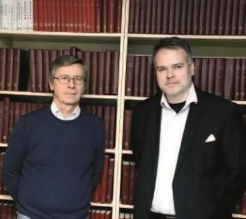 Professor Jan Tore Klovland ved NHH og Lars Fredrik Øksendal, forsker i Norges Bank. (Foto: Helge Skodvin)