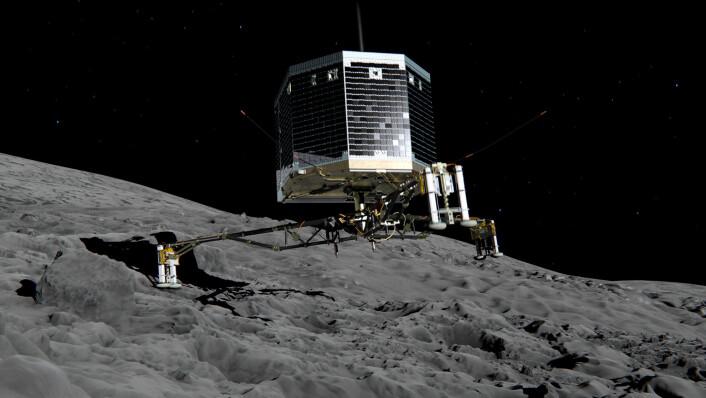Den europeiske romsonden Philae landet på kometen 67P litt over klokken 17 onsdag 12. november 2014, 500 millioner kilometer ute i solsystemet, etter mer enn 10 år på reise i rommet. Det er den aller første landingen på en komet. Illustrasjon: ESA