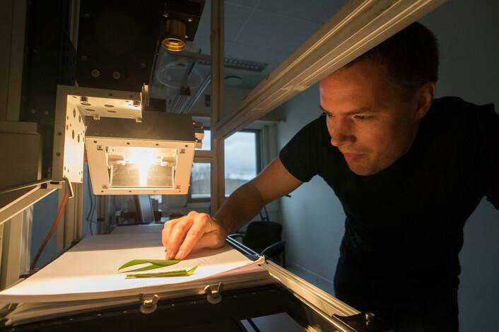 Hallvard Skjerping fra Norsk Elektro Optikk med ett av de hyperspektrale kameraene som firmaet produserer. Biologisk materiale, som blader, er ett eksempel på materialer som kan studeres med det fargefølsomme kameraet. (Foto: Arnfinn Christensen, forskning.no)