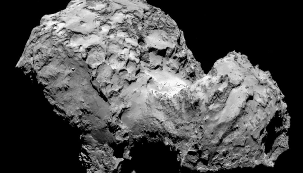 Når Philae når fram til kometens overflate, vil den møte en ujevn, forrevet overflate merket av kratre, klipper og kampestein på størrelse med hus. (Illustrasjon: ESA/Rosetta/MPS for OSIRIS Team MPS/UPD/LAM/IAA/SSO/INTA/UPM)