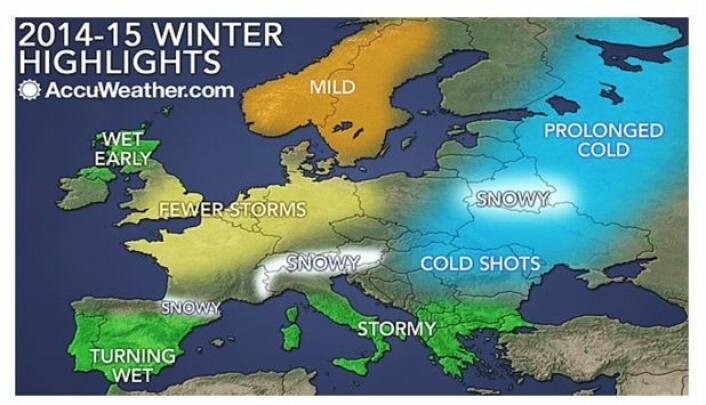 Slik blir vinterværet! Kanskje? (Bilde: Accuweather.com)