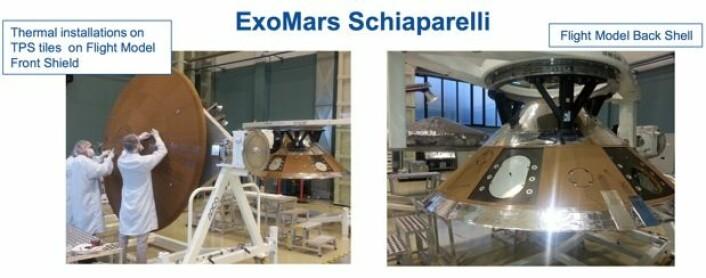 Landingsenheten Schiaparelli under bygging for ESAs ExoMars-ferd i 2016. (Bilder: ESA)