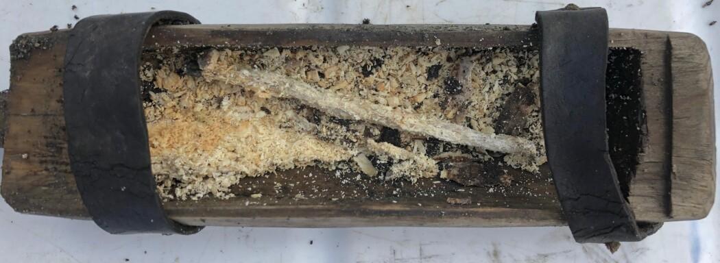 I boksen lå en trepinne og noe tre-rusk. Arkeologene tror dette var utstyr til å tenne opp ild med. (Foto: Espen Finstad, secretsoftheice.com)
