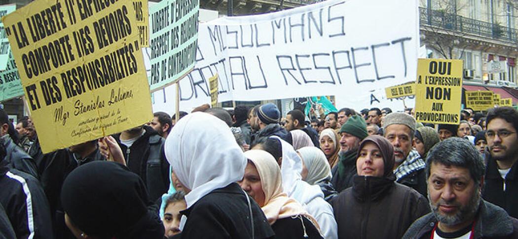 Muhammed-karikaturene i Jyllandsposten utløste protester og demonstrasjoner flere steder i verden. Her fra Paris, 11. februar i 2006. (Foto: David Monniaux/Wikimedia)