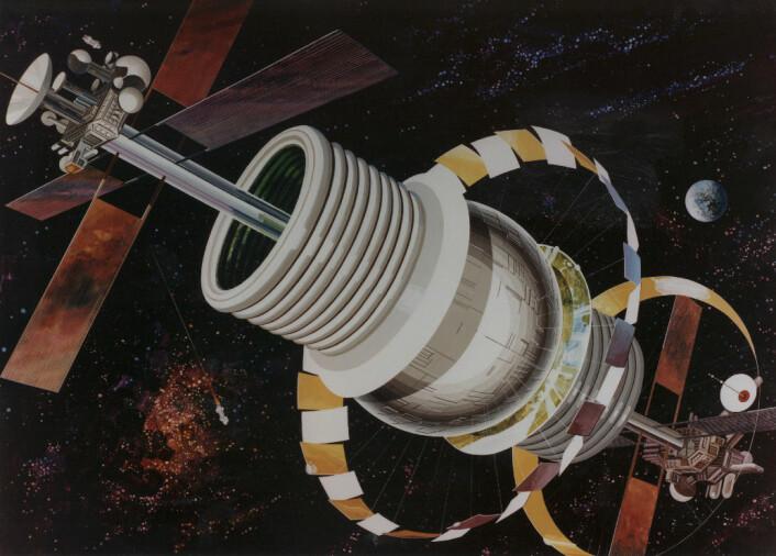 Bernal-sfæren, slik en kunstner har sett det for seg. (Foto: (Bilde: NASA Ames Research Center))