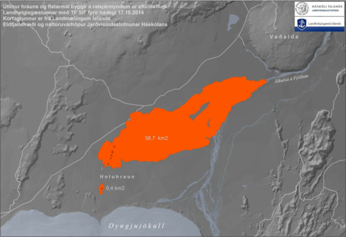 Fig 3.  Lava field extent at Sept. 12 (24.5 km2) and Oct. 17 (58.7 km2).  Maps produced by Institute of Earth Sciences, University of Iceland (Jarðvísindastofnun, Háskólans).