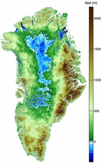 Slik ser Grønland ut under isen. Det blå feltet i kartet viser områder under havnivå. Når isen trekker seg tilbake vil landheving endre bildet. (Foto: (Illustrasjon: Mathieu Morglihem, NASA))