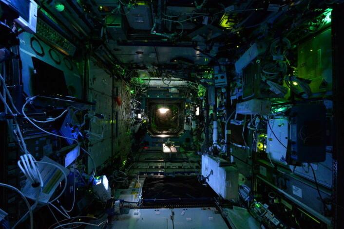 Skummel stemning på romstasjonen Halloween-natten 2014.  (Foto: ESA)