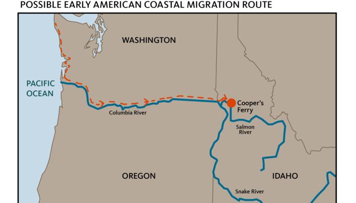 Den blå linjen viser Columbia-elven og den røde stiplede linjen viser hvordan forskerne tror at menneskene som holdt til her kom seg til Cooper´s Ferry. (Kart: Teresa Hall, Oregon State University).