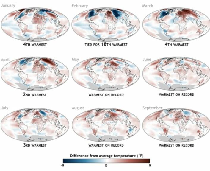 Klodens overflatetemperatur gjennom årets ni første måneder. Det ser ut til å gå mot rekord. (NOAA)