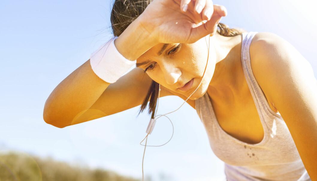 Man forbrenner ikke mindre fett ved å kjøle seg ned etter hard trening. Svetten har nemlig ikke noe med energiomsetningen å gjøre, konstaterer danske forskere.  (Foto: Microstock)