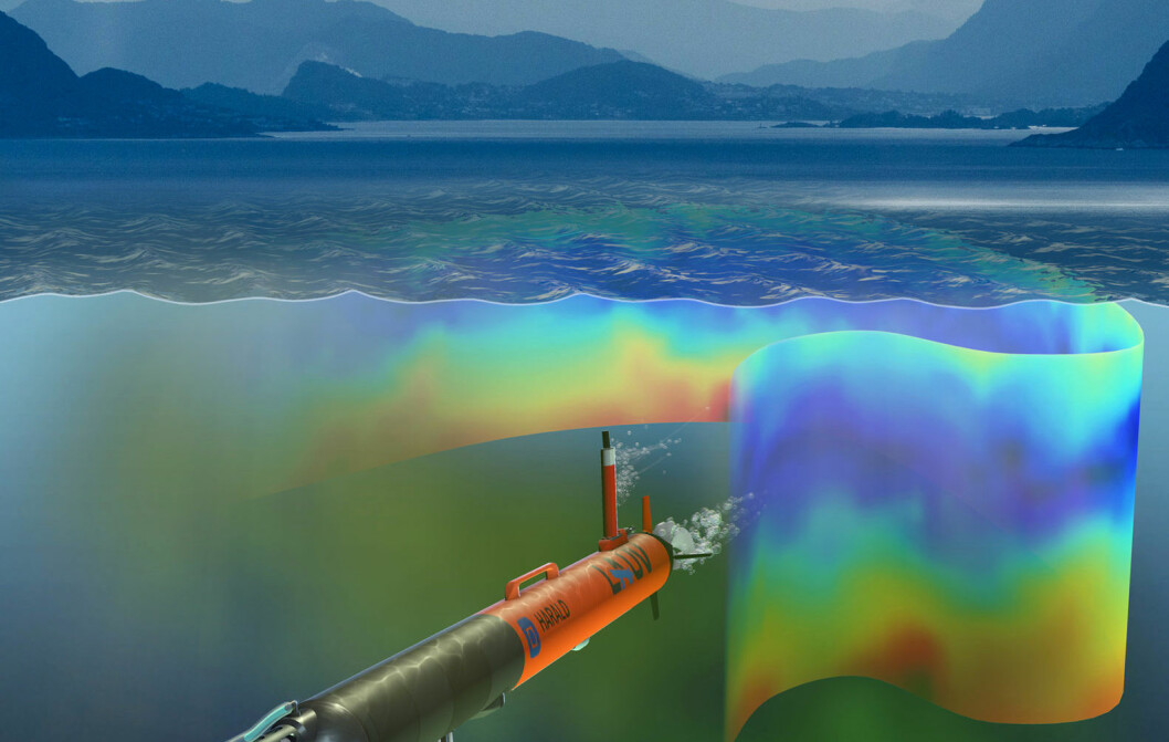 An artist's visualization of the autonomous underwater vehicle under the waves in the context of the waters off the Runde Island. (Image: David Fierstein and Arild Hareide)