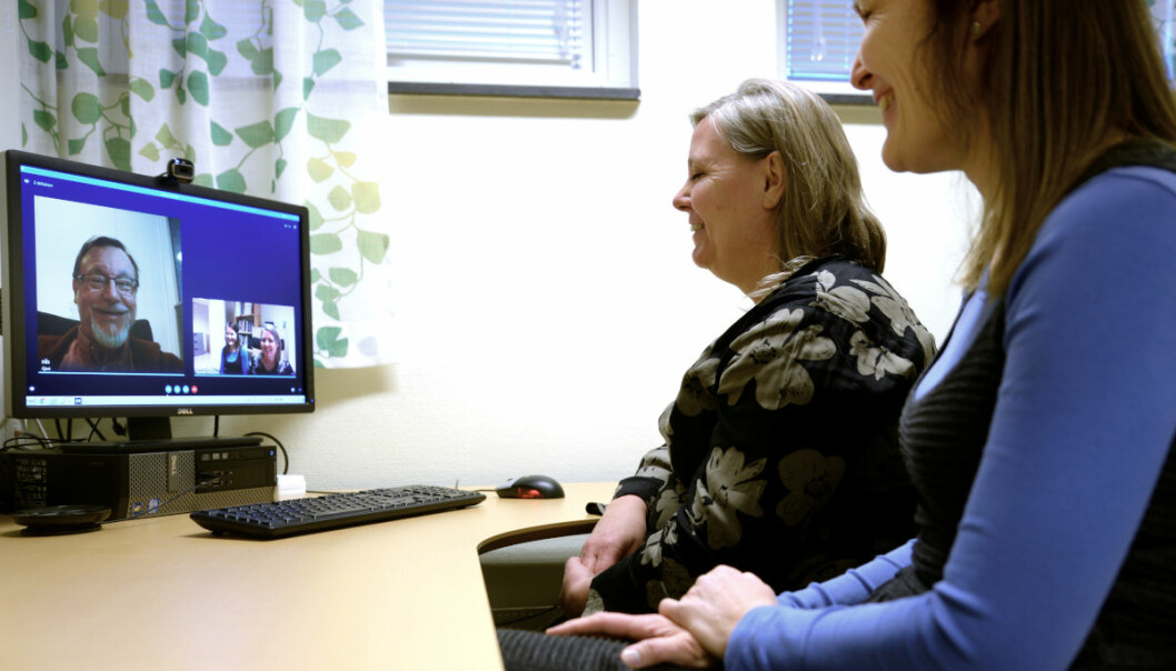 Experiences with video conference were positive, and it was suitable for more than expected. (Photo: Norwegian Centre for E-health Research)