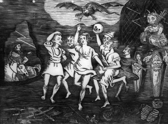 Heksedans i 1795. I gamle dager oppfattet man at de magiske kreftene var på sitt sterkeste nettopp denne kvelden.  (Foto: Scanpix/Topfoto)
