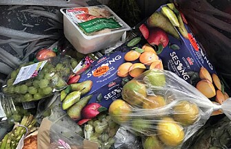 Food doesn't have to be discarded when it passes the best-before date in Norway, but store owners find that customers are reluctant to buy this food. In this photo, food has been thrown out at a store in the Trondheim area. (Photo: Idun Haugan)