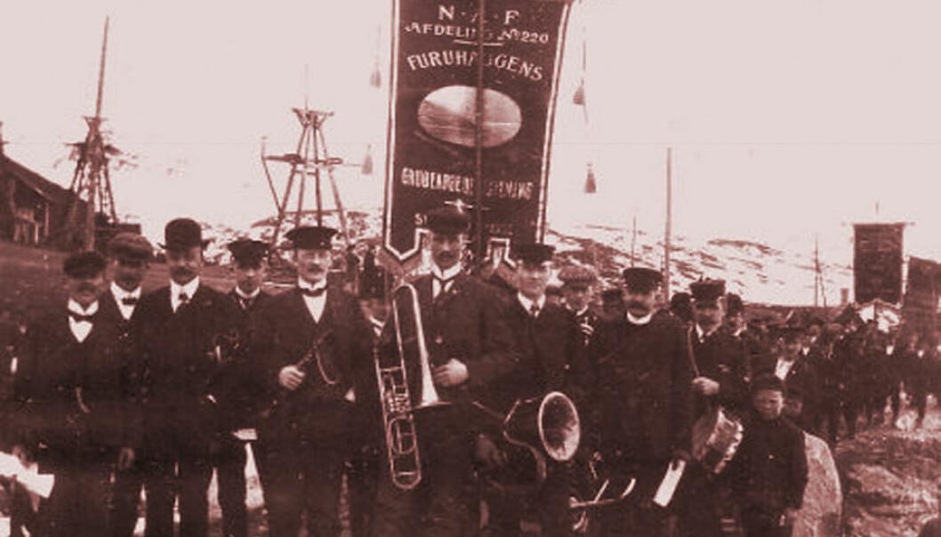 1. mai i Sulitjelma, 1908. (Foto: Wikimedia Commons)
