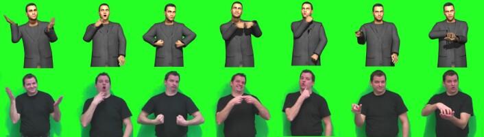 Dataforskere i hovedstaden Saarbrücken i den tyske staten Saarland har utviklet en tilnærming av animerte tegsnpråksfigurer. De samarbeider Peter Schaar som er døv og som foreleser i tegnspråk. (Illustrasjon: AG Heloir)