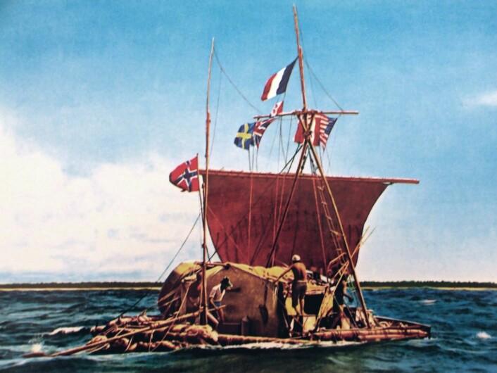 Originalflåten Kon-Tiki i 1947.  (Foto: Offentlig eiendom)