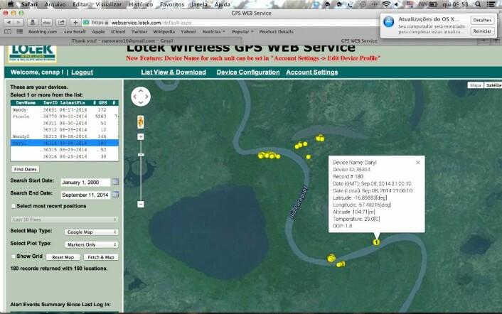 Skjermdumpen viser korleis forskarane via nettet kan sjå kvar ein av dei merka jaguarane bevegde seg frå 8. til 11. september 2014. (Foto: Skjermdump fra Lotek)