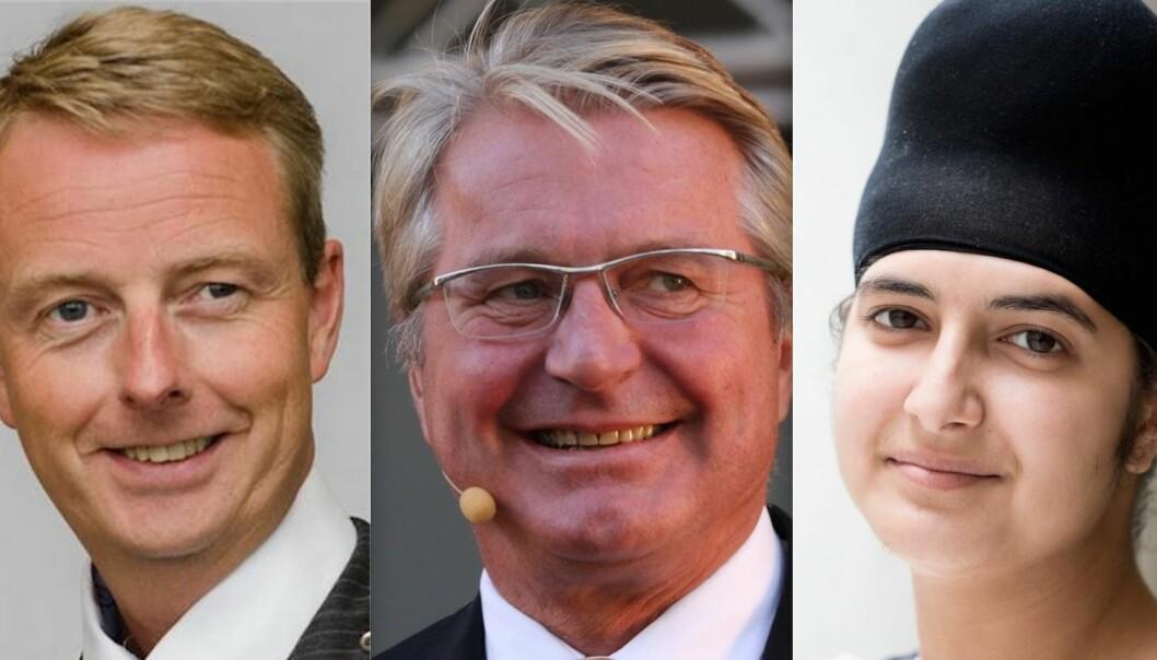 Om velgerne hadde fått bestemme: Terje Søviknes (Frp), Fabian Stang (H) og Prableen Kaur (A) ville sittet fast på Stortinget nå.  (Fotos: Os kommune, Jarle Vines/Wikimedia, Berit Roald/NTB Scanpix)