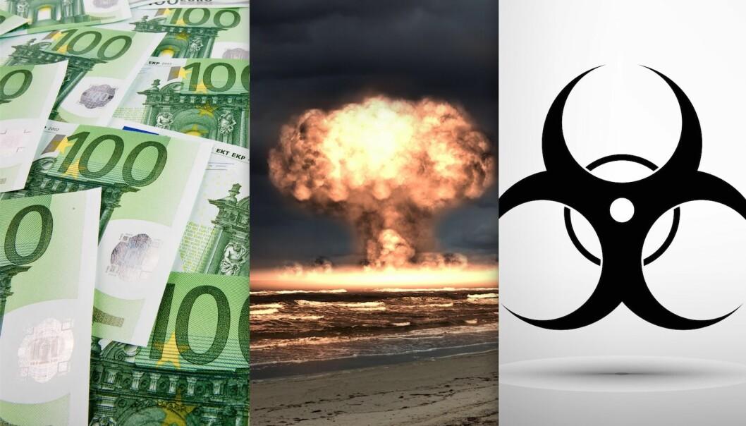 Økonomisk ulikhet, atomvåpen og epidemier fryktes av mange. (Illustrasjonsfotos: Colourbox)