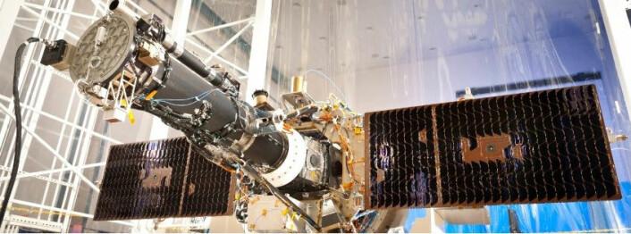 Romteleskopet IRIS før oppskytning. (Foto: IRIS, LMSAL, NASA)