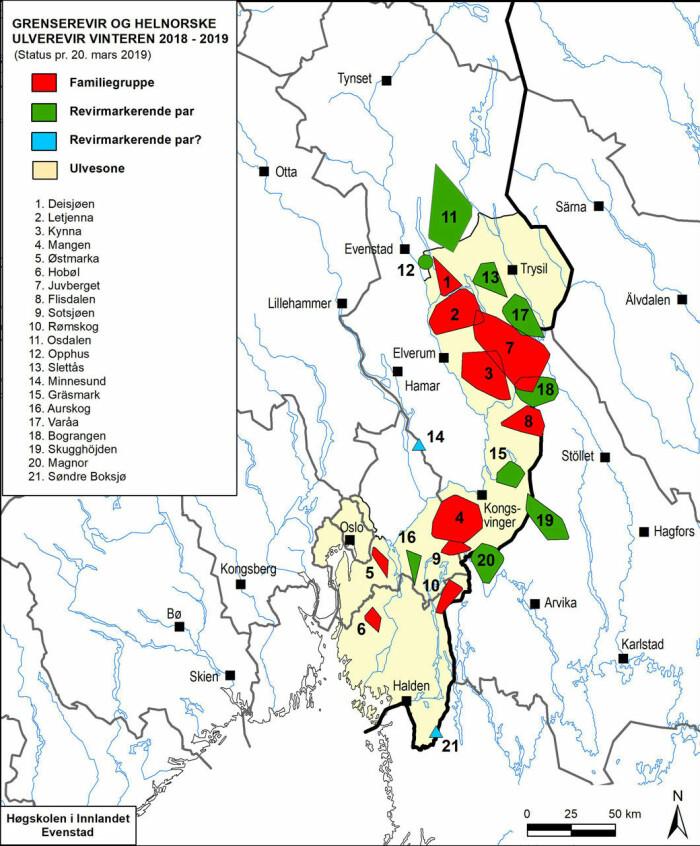 Kartet viser den offisielle ulvesonen (gult) og kartlagte ulverevirer i Norge og langs grensen mot Sverige sist vinter. Revirgrensene er minimumsgrenser. Ulven beveger seg altså utenfor disse områdene. (Data og illustrasjon: Høgskolen i Innlandet/rovdata.no)