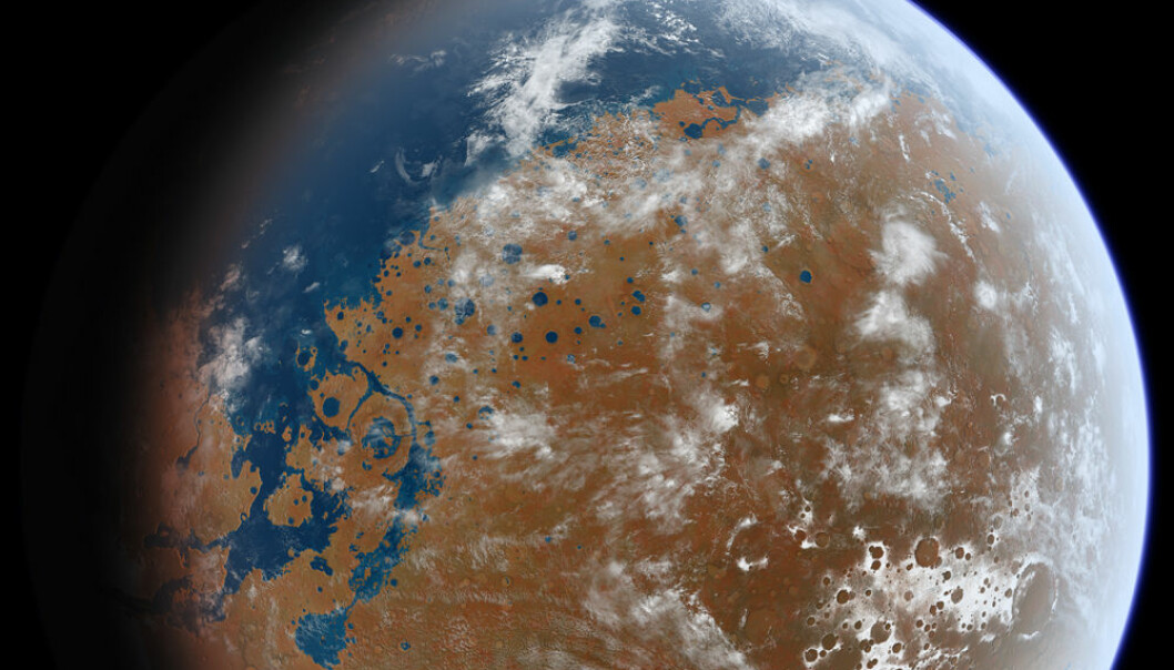 Mars med flytende vann på overflaten, slik en kunstner har sett det for seg. (Bilde: Ittiz/Creative Commons)