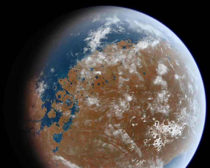 Mars med flytende vann på overflaten for milliarder av år siden, slik en kunstner har sett det for seg. (Foto: (Bilde: Ittiz/Creative Commons))