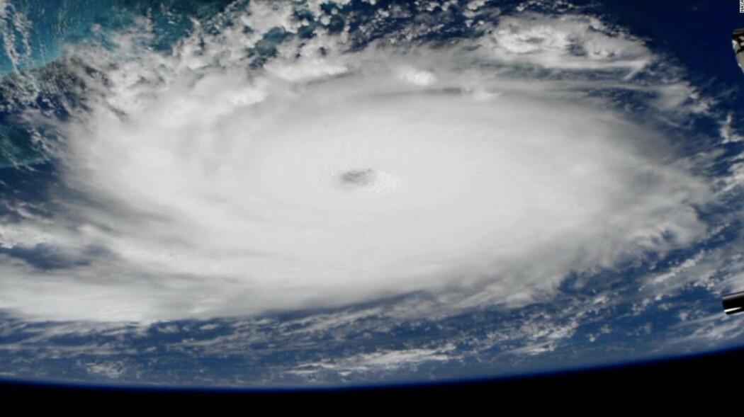 Orkanen Dorian sett fra Den internasjonale romstasjonen. (Bilde: NASA)