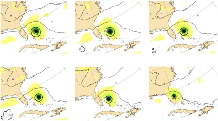 Øverst fra venstre: Værsituasjonen 1 sept 12:00 UTC, deretter prognosene som kom 1 og 2 døgn i forkant. Nederst er prognosene som kom henholdsvis 3, 4 og 5 døgn i forkant. (Bilde: ECMWF / T Wahl)
