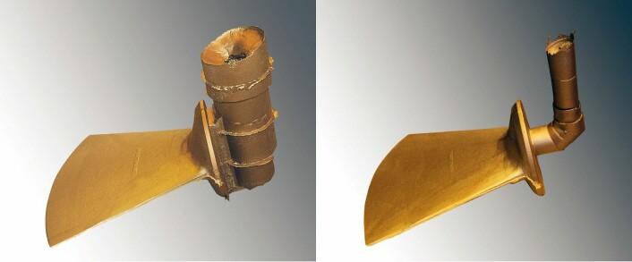 På begge bildene er et propellblad på 155 kilo nettopp støpt ut. Den størknede sylinderen til høyre på bildene, er gjenværende metall i «matere». Disse har tilført propellbladet ekstra smeltemasse fordi støpegods krymper ved størkning. Dagens mater (til venstre) har 164 kilo ubrukt metall. Den nye materen (til høyre) har bare åtte kilo ubrukt metall. Under dette forsøket sparte den nye teknologien dermed Oshaug Metall for smelting av 156 kilo ekstra metall. (Foto: Arnt Jørgen Sønslien, Oshaug Metall)