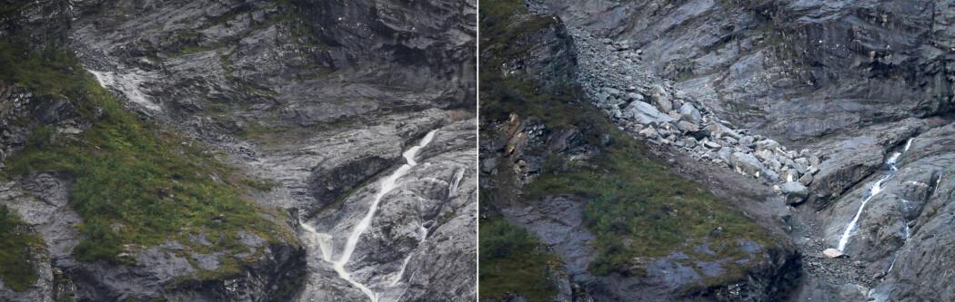 Fjellområdet Veslemannen har endelig rast. Her er bildene før (venstre) og etter raset (høyre). Før-bildet er fra torsdag ettermiddag før raset, og etter-bildet fra fredag morgen. (Foto: NTB Scanpix / Ørn E. Borgen)